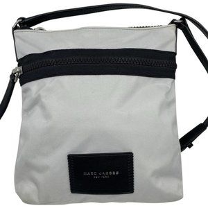 marc jacobs white black nylon fabric cross body ba